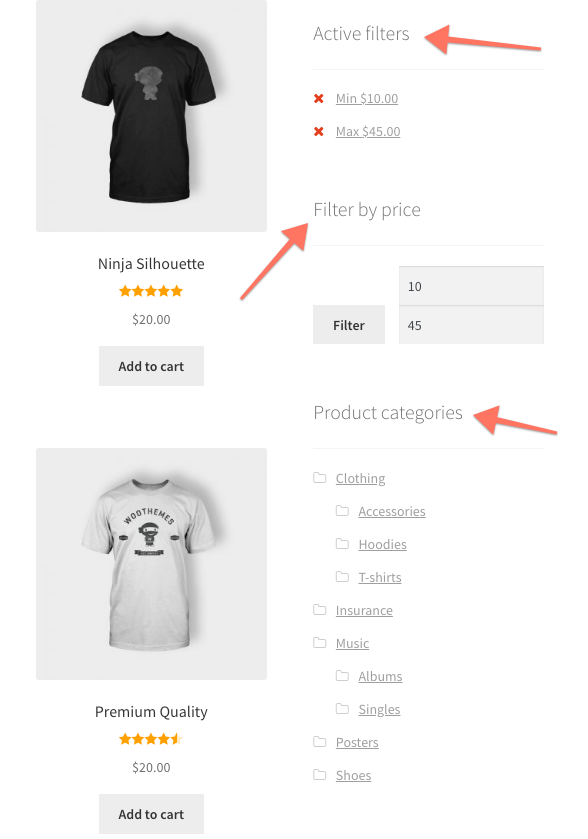 WooCommerce Widgets Active Filters Price Filter Product Categories