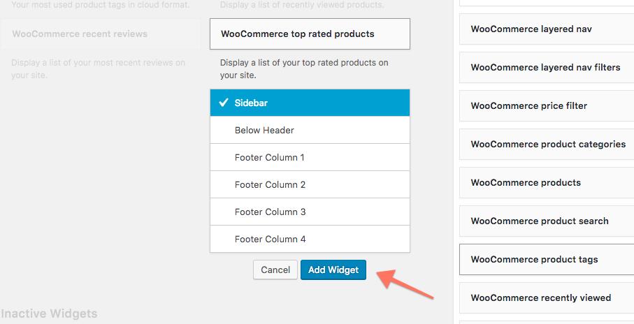 WooCommerce Widget Add to Sidebar