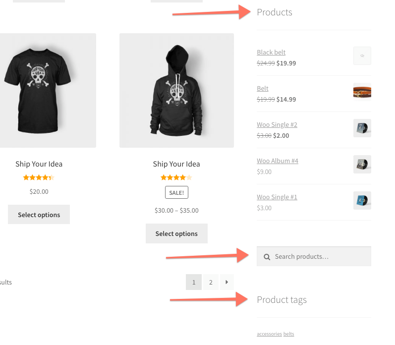 WooCommerce Widgets Products Product Search Product Tags